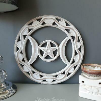 £10.75 • Buy White Wooden Round Triple Moon Wall Plaque Pagan Wiccan Home Decor