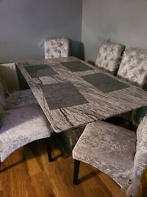 £950 • Buy Grey Marble Effect Dining Table And 6 Chairs