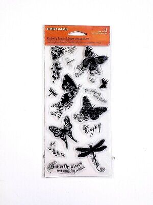 £6.20 • Buy Fiskars Butterfly Magic Clear Acrylic Stamp Set 01-005524 Dragonfly Flowers