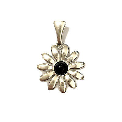 £25.50 • Buy Whitby Jet And 925 Sterling Silver Flower Pendant