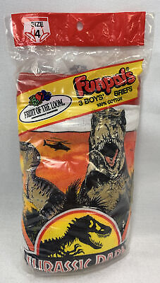 $ CDN99.99 • Buy Jurassic Park Underwear Fruit Of The Loom Size 4 Boys Funpals Collectable Seals