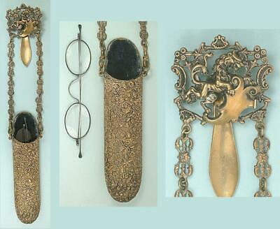 £44.09 • Buy Antique Brass Spectacles / Glasses Chatelaine * English * Circa 1890s
