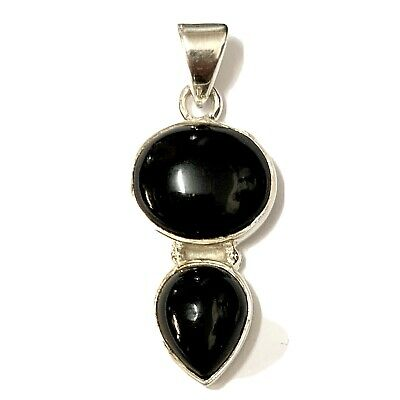 £29 • Buy Whitby Jet And 925 Sterling Silver Pendant Double Drop