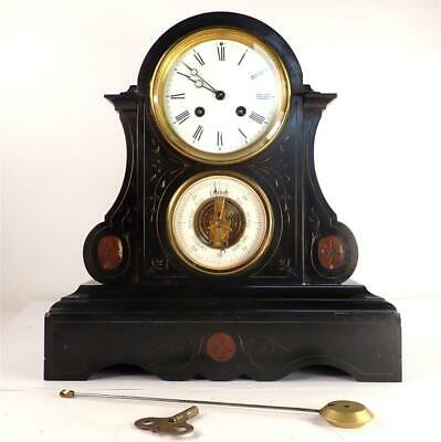 £349.99 • Buy Antique French Black Slate And Marble Mantel Clock & Barometer