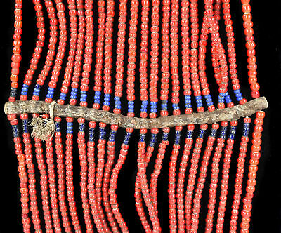 $150 • Buy 22 Strands Maasai Beaded Necklace Red Kenya Old Africa