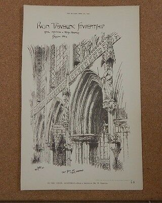 £28.73 • Buy Antique Architects Print Lichfield Cathedral Chior Stall The Builder 1891
