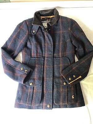£89 • Buy Joules Field Coat Jacket Tweed Wool Blend Check Navy Size 6 Country Outdoor