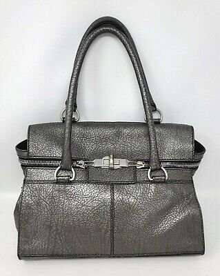 £166.38 • Buy Max Mara Margaux Gray Leather Satchel Shoulder Hand Bag ITALY Authentic $1045