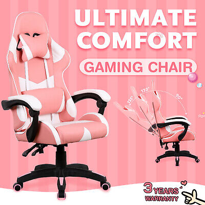 AU119.90 • Buy Gaming Chair Racer Computer Office Executive Recliner PU Leather Seating Pink
