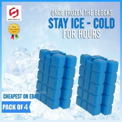 £4.99 • Buy Pack Of 4 Freezer Blocks For Cool Bags Ice Boxes New Blue Picnics Lunch Travel