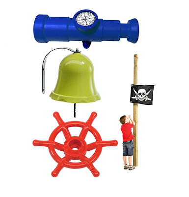 £49.99 • Buy Kids Pirate Flag Telescope With Compass Pirate Steering Wheel Bell Playhouse