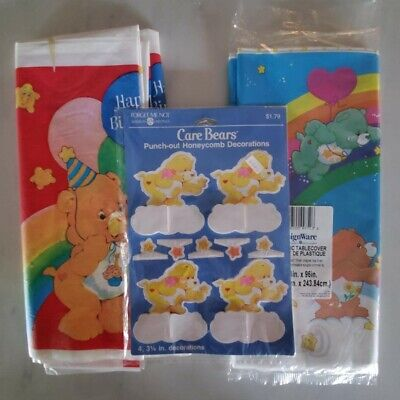 £24.83 • Buy Vintage Care Bears - 2 Rainbow Plastic Tablecloths + Party Punch-Out Decorations