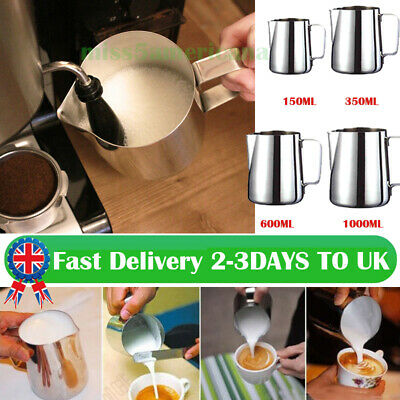 £5.99 • Buy Stainless Steel Milk / Coffee Frothing Jug Frother Latte Container Metal Pitcher