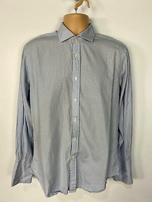 £12.49 • Buy Mens T.m.lewin 16.5  Slim Fit Blue Gingham Check Double Cuff Long Sleeved Shirt