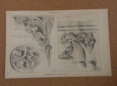£30.39 • Buy Antique Architects Print Wells Cathedral Interior Details The Builder 1888