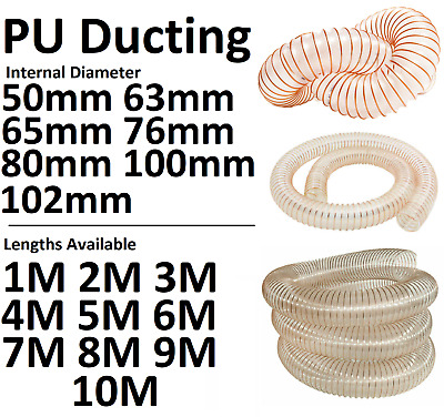 £10.50 • Buy PU Clear Flexible Ducting Hose Ventilation Woodworking Saw Dust Fume Extraction