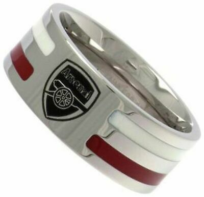£19.99 • Buy Stainless Steel Arsenal Striped Ring - Size R