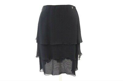 £161.42 • Buy CHANEL Skirt Frills Black 100% Silk Made In France Size 34 Authentic Used #5446A