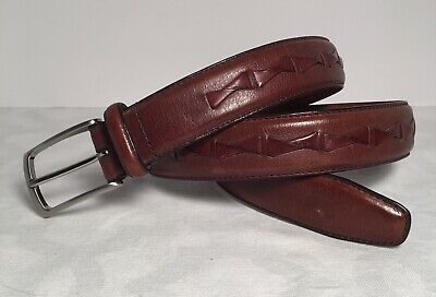 $16.40 • Buy Genuine Fossil Brown Leather Belt Size 34 Woven Inlay Center Silver Buckle