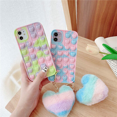 AU9.99 • Buy Pop It Toy Case Rainbow Heart Silicone Cover For IPhone 12 11 Pro Max XS XR 7 8