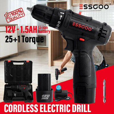 View Details 12/21V Electric Drill Cordless Electric Screwdriver Drill Set LED W/2 Batteries • 40.84$
