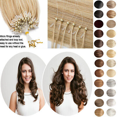 £37.99 • Buy 14 -26  Micro Loop Ring Beads Russian Remy Human Hair Extensions Pre Bonded 100s