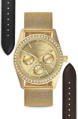 £59 • Buy YVES CAMANI MIELLE II Ladies' Watch Set Mesh Strap + 2 Leather Straps New