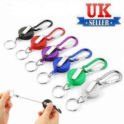 £2.49 • Buy 1/ 2Pc Heavy Duty Retractable Pull Keyring Stainless Steel Ring Key Chain Recoil