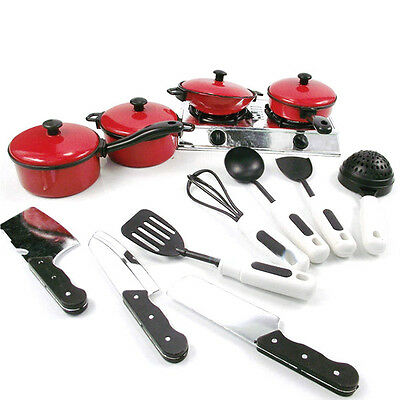 £6.55 • Buy 13Pcs Kitchen Cooking Utensils Pots Pans Accessories Kids Play Child Toy #S28
