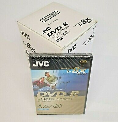 £20 • Buy JVC DVD-R Discs Recordable Video / Data 120min 4.7GB 10 X New Sealed In DVD Case