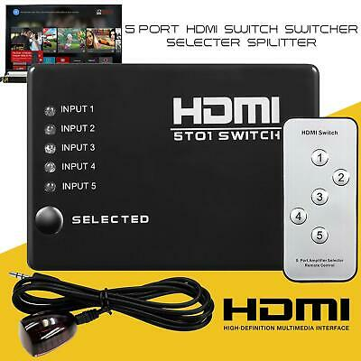 £5.45 • Buy 1080P 5 Port HDMI Switch Selector Splitter Switcher Hub Remote For PS3 HDTV Xbox