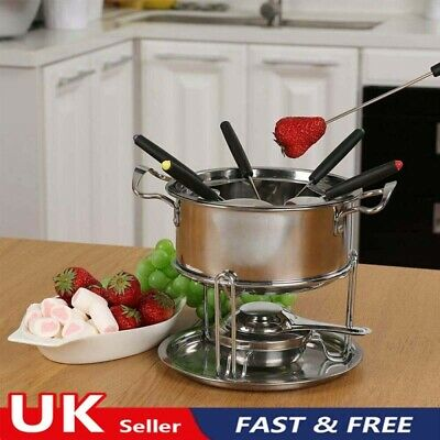£8.69 • Buy Cheese Chocolate Fondue Set Melting Pot Stainless Steel W/ 6 Forks & Fuel Burner