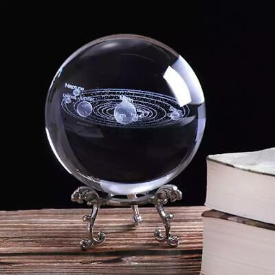 £14.95 • Buy Large 80mm 3D Solar System Crystal Ball Planets Glass Sphere Engraved Globe