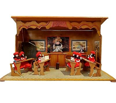 £1345.85 • Buy Vtg French Ecole Classroom Automaton Music Box Doll House Furnished SEE VIDEO