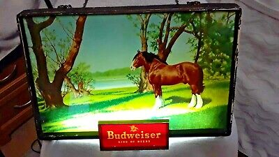 $ CDN396.54 • Buy Antique Budweiser Lighted Sign W/ Clydesdale Horse (1950's)