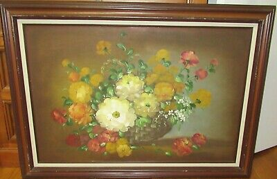 $ CDN503.53 • Buy Cantrell Vintage Large Original Oil On Canvas Floral Vase Painting