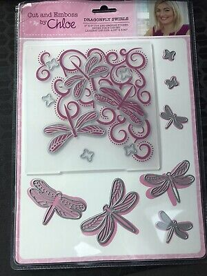 £9.50 • Buy Cut And Emboss By Chloe, Dragon Fly Swirls Die  And Embossing Folder Set