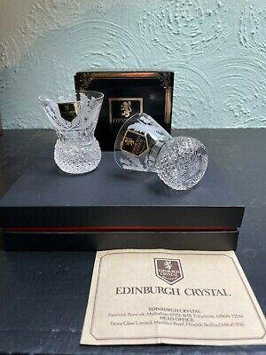 £199.99 • Buy Edinburgh Crystal - Boxed Set Of 2x Thistle Engraved Small Tot Glasses (H828)