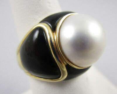 $350 • Buy Gorgeous 14k Black Onyx Mabe Pearl Statement Cocktail Ring 7.9g - sz 6
