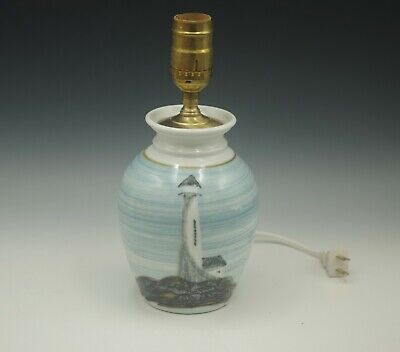 $45 • Buy Georgetown Pottery Maine Coastal Lighthouse 1999 Art Pottery Table Lamp