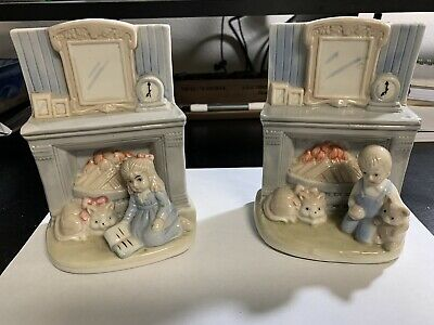 £18.15 • Buy Vintage Figurines Boy And Girl Next To Fireplace