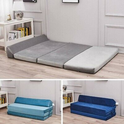 £55.99 • Buy Velvet 3 Tier Folding Out Single Double Bed Futon Couch Sleepover Guest Mattress