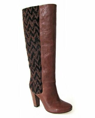 £90.62 • Buy Plenty By Tracy Reese Royale Cognac Brown Chevron Knee High Heeled Boot Size 9