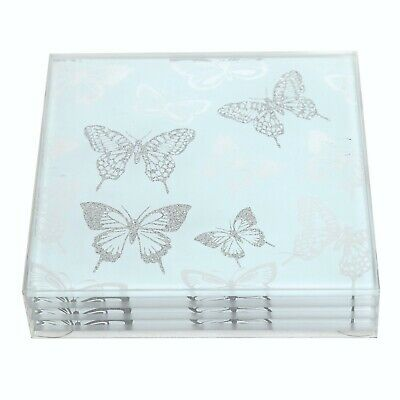 £11.95 • Buy S/4 Square Glass Butterfly Coasters Drinks Table Coaster Set Tableware Silver