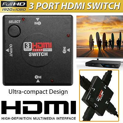 £3.45 • Buy 3 Port Hdmi Splitter Cable Multi Switch Switcher Hub Box Lcd Hdtv Ps3 Xbox