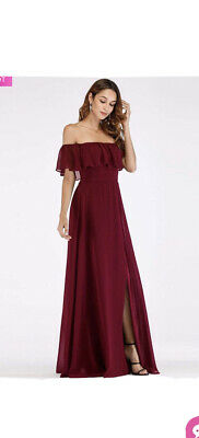 £25 • Buy Ever Pretty Burgundy Bridesmaid Dress Off The Shoulder Size 16