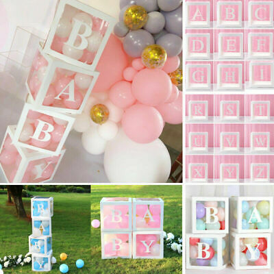 £4.99 • Buy A-Z Letter Baby Shower Balloon Box Cube Transparent Wedding Birthday Party Decor