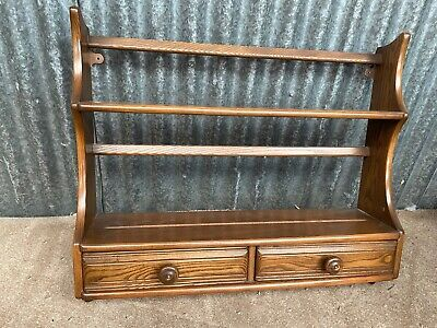 £125 • Buy Vintage Ercol Windsor Two Tier Wall Shelf Plate Rack Drawers Golden Dawn - Rare