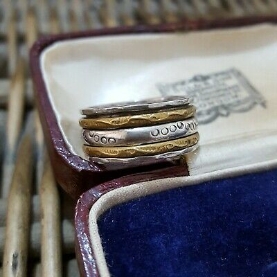 £34.99 • Buy Vintage Sterling Silver And Brass Spinning Ring, Worry Ring, Size P US 7.5