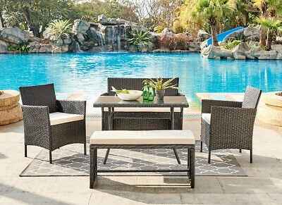 £339.99 • Buy Rattan Garden Furniture Dining Set Conservatory Patio Outdoor Table Chairs Bench